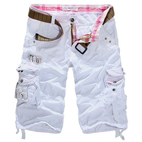 Allonly Mens Casual Cotton Relaxed Fit Multi-Pocket Cargo Shorts Under Knee