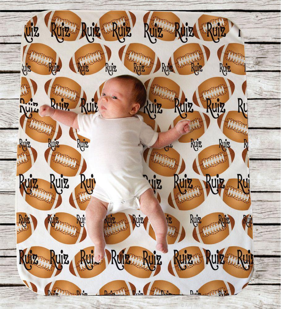 Football sports theme personalized baby blanket swaddle blanket football sports theme personalized baby blanket swaddle blanket baby shower gift nursery decor negle Gallery