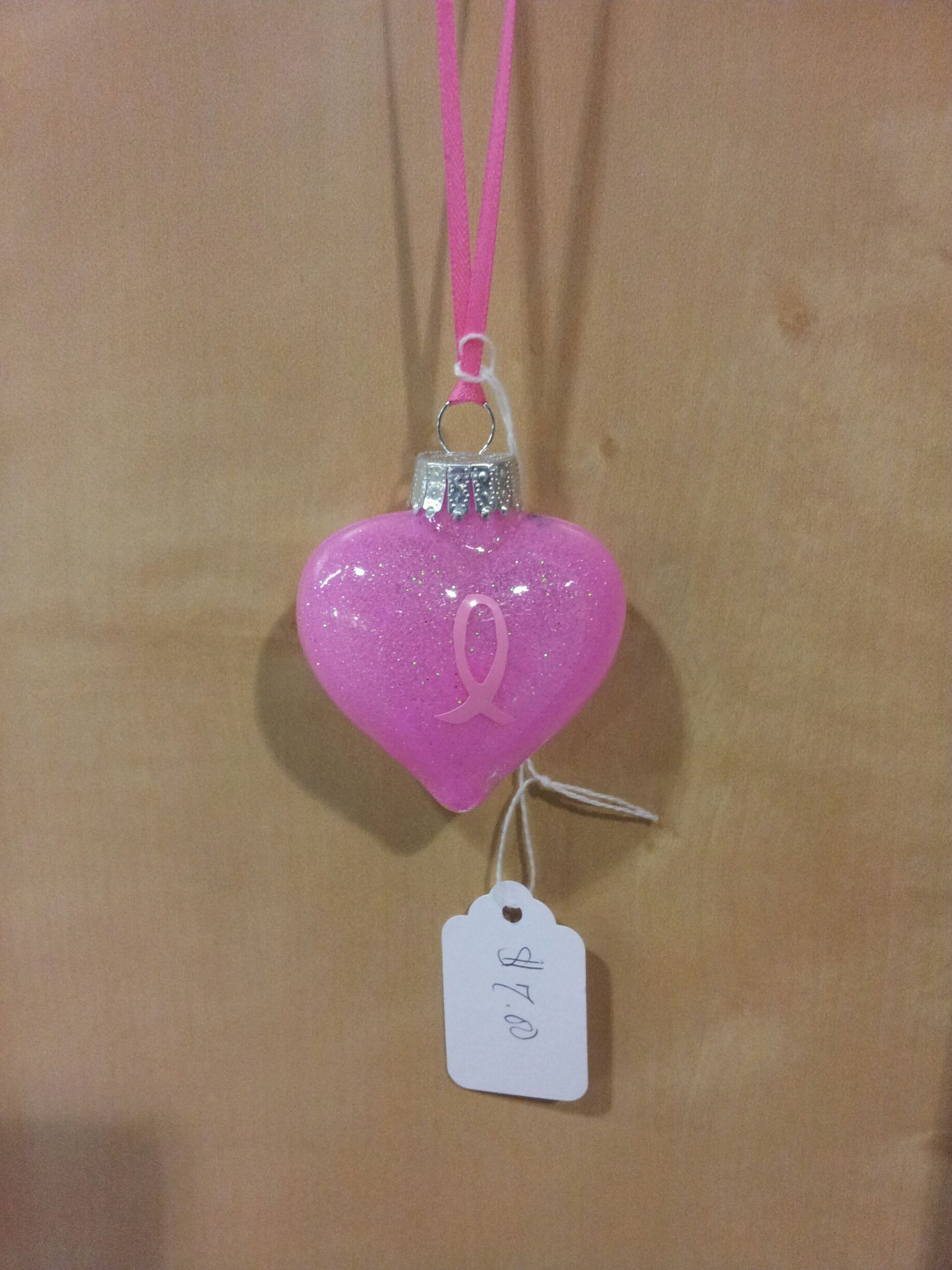Handmade glass christmas ornaments - Pink Breast Cancer Heart Handmade Glass Christmas Ornament