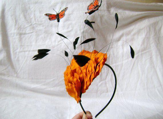 Marigold Orange Floating Butterflies Fascinator Headband