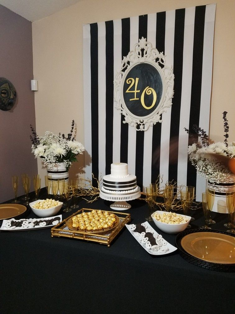 40th Birthday Party Black White Gold Classy 40th Birthday