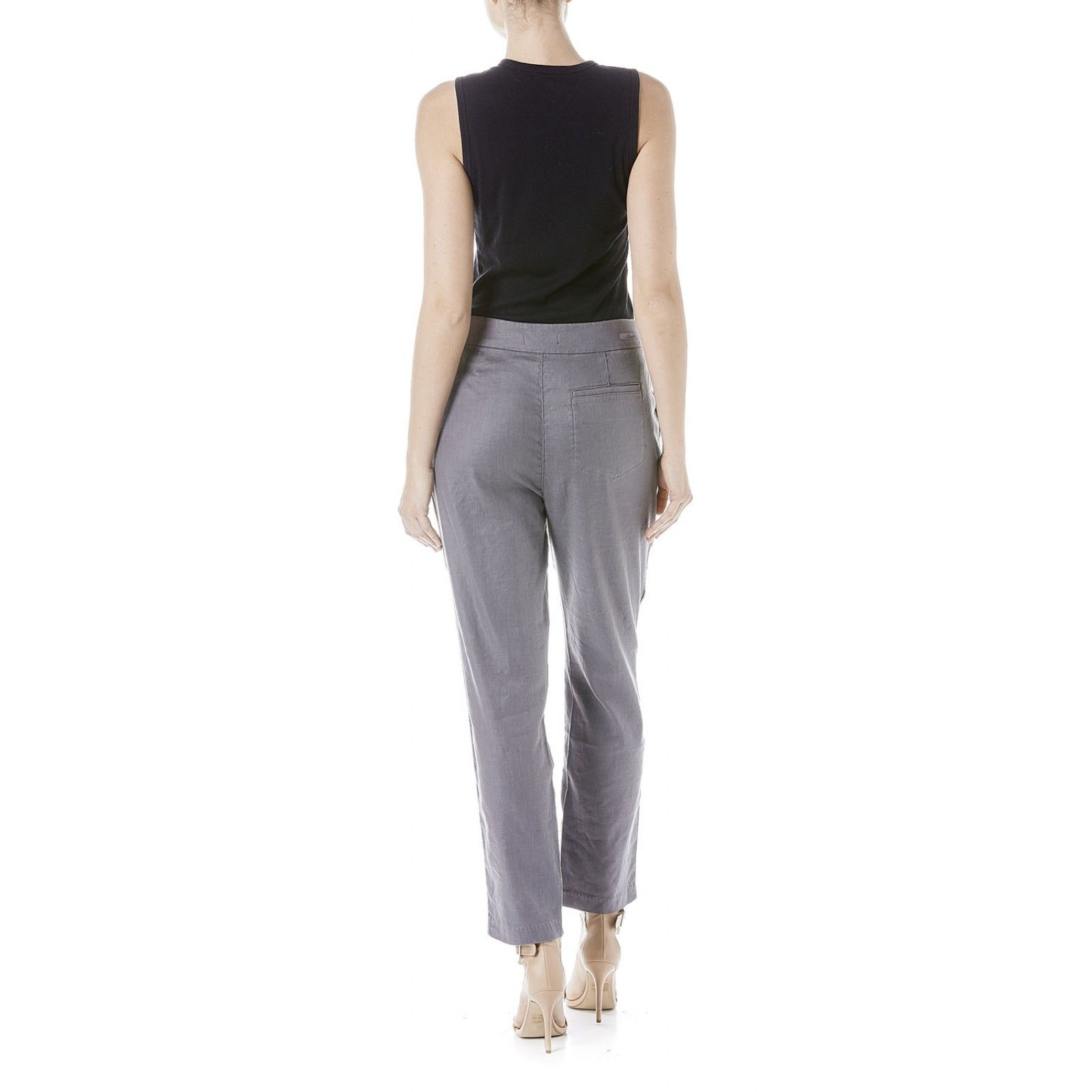 <p>Feminine high waisted trouser<br />Staggered front pleats at the waist<br />Attached tie belt<br />Slanted front pockets<br />Single back patch pocket<br />Relaxed straight leg</p>
