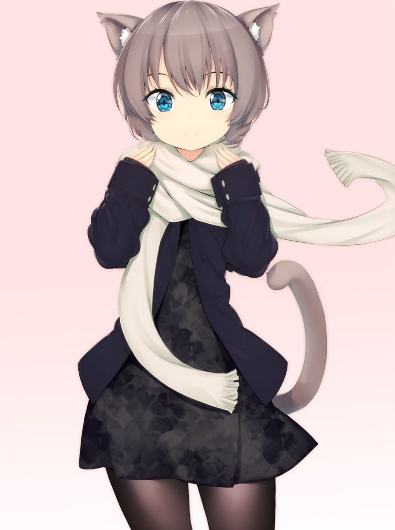 Anime girl with short brown hair blue eyes cat ears scarf black dress coat leggings and a tail