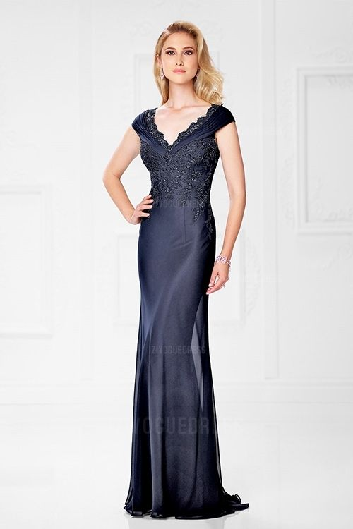 568739ec065 Sheath Column V-neck Sweep Brush Train Chiffon Mother of the Bride Dress