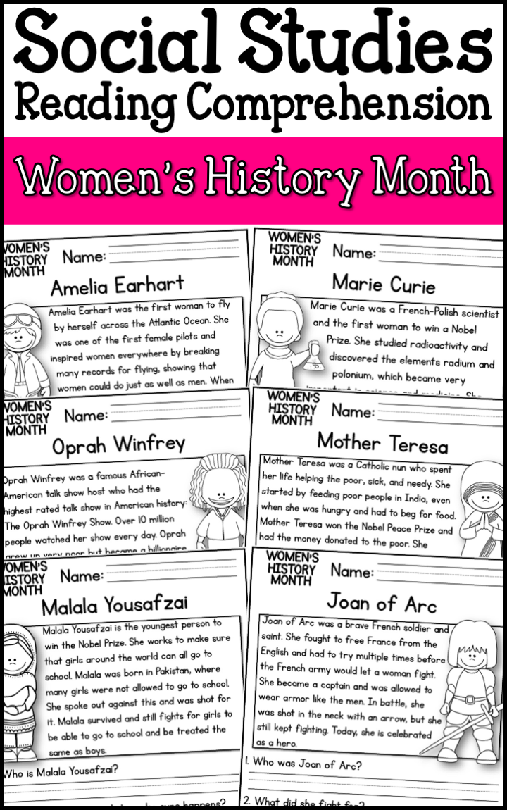 Women S History Month Reading Comprehension Passages K 2 A Page Out Of History Reading Comprehension Passages Comprehension Passage Reading Comprehension [ 1150 x 720 Pixel ]