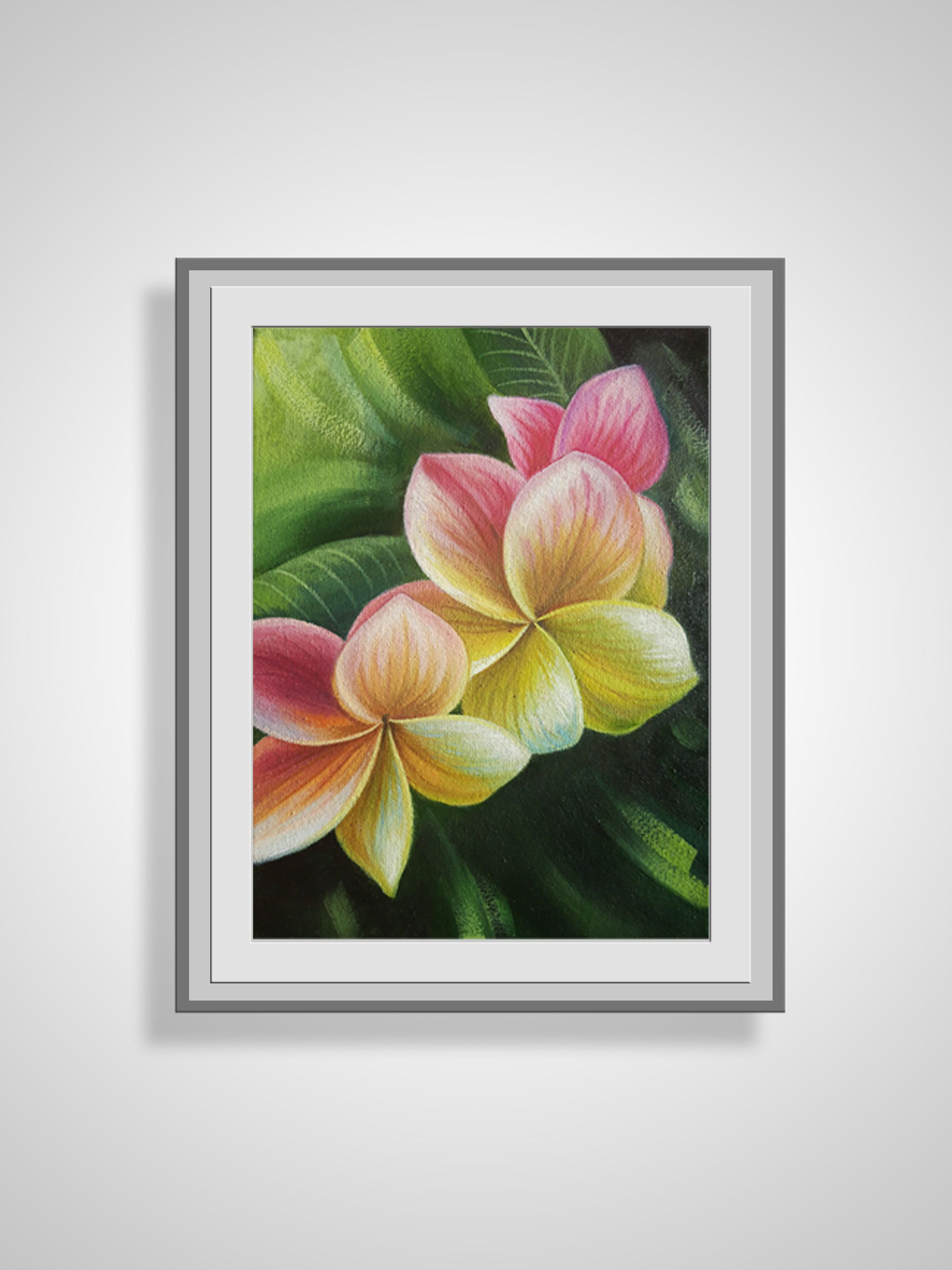 Hawaiian Flowers Painting Original Floral Painting Canvas Wall Art