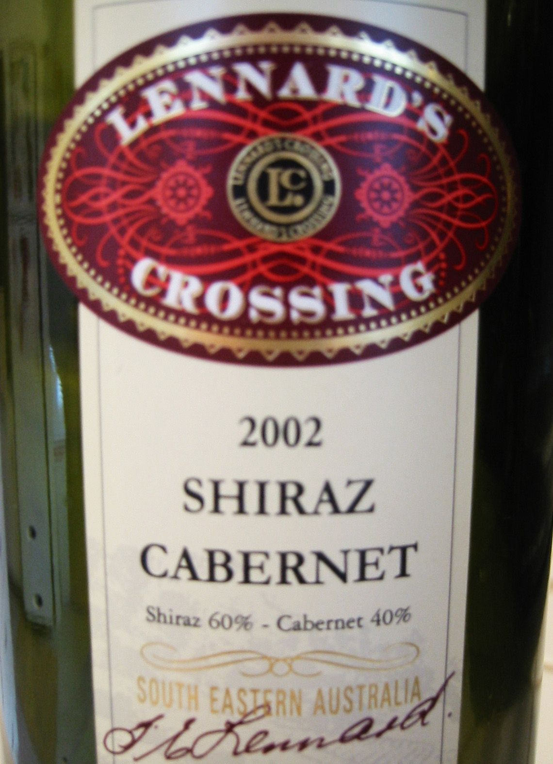 2002 Lennard S Crossing South Eastern Australia Shiraz Cabernet Cabernet Shiraz Australia