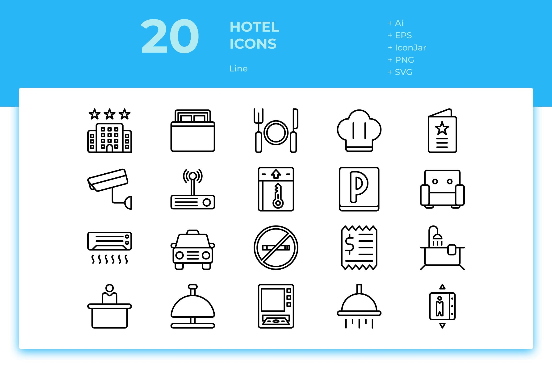 20 Hotel Icons (Line) by inipagi on di 2020