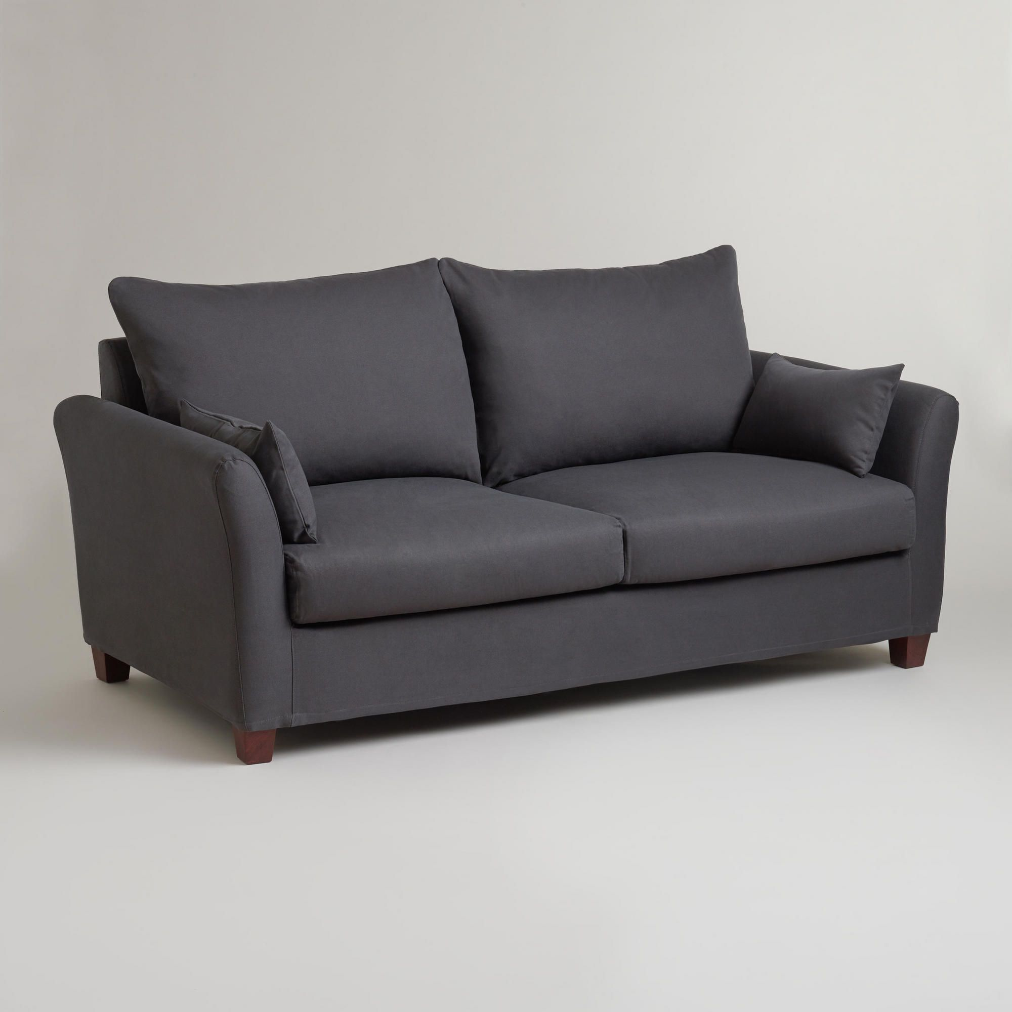Charcoal Luxe Sofa Slipcover With