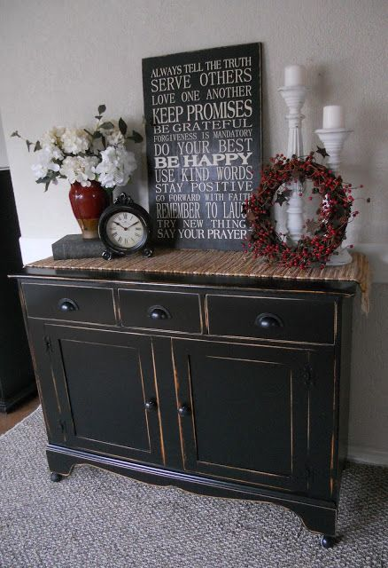 Black Distressed Buffet I Think This Is One Of My Favorites Hers