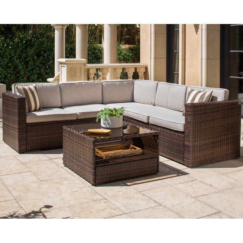 Solaura Outdoor 4 Piece Rattan Sectional Seating Group With Cushions Wayfair In 2020 Outdoor Sectional Sofa Wicker Sectional Wicker Outdoor Sectional