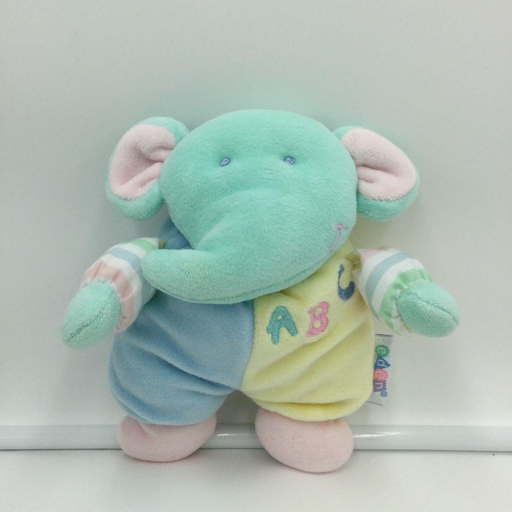 Eden Abc Elephant Striped Pastel Rattle Plush Soft Toy Green Yellow Blue 7 Eden Toys Pet Toys Baby Elephant