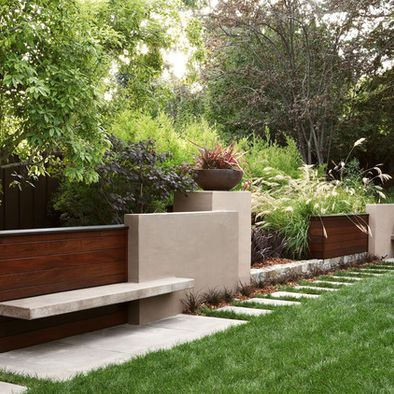 Wood Retaining Wall Design Pictures Remodel Decor And Ideas Modern Garden Contemporary Garden Modern Landscaping