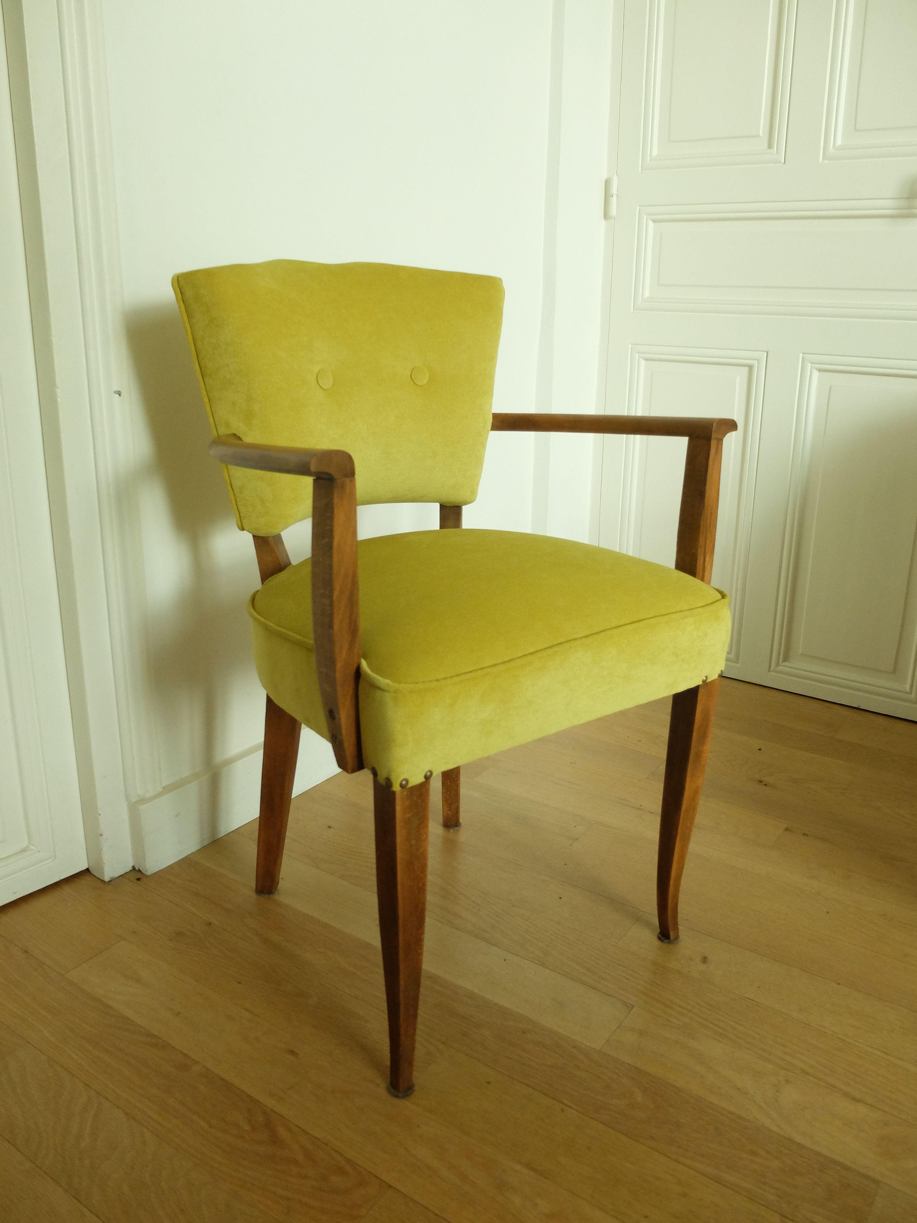 fauteuil bridge ann es 40 enti rement r nov m thode traditionnelle tissu velours milleraies. Black Bedroom Furniture Sets. Home Design Ideas