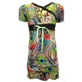 Super jurkje van O'Chill, bedrukt met een patroon van pauwenveren - zomercollectie 2014.