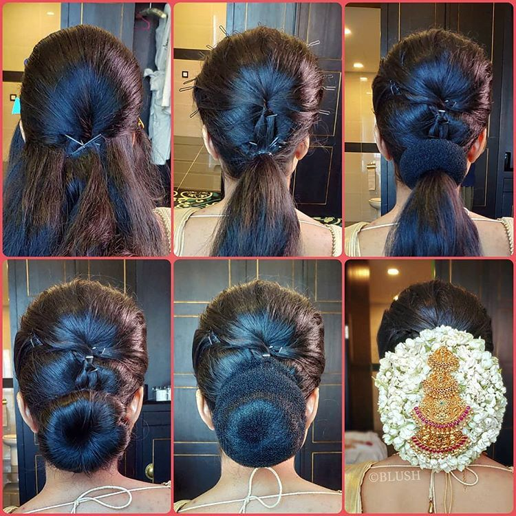 Here S A Step By Step Pictorial On How We Created The Gorgeous Jasmine Galore Bun 1 Tease The Cro Hair Style On Saree Hair Styles Medium Hair Styles