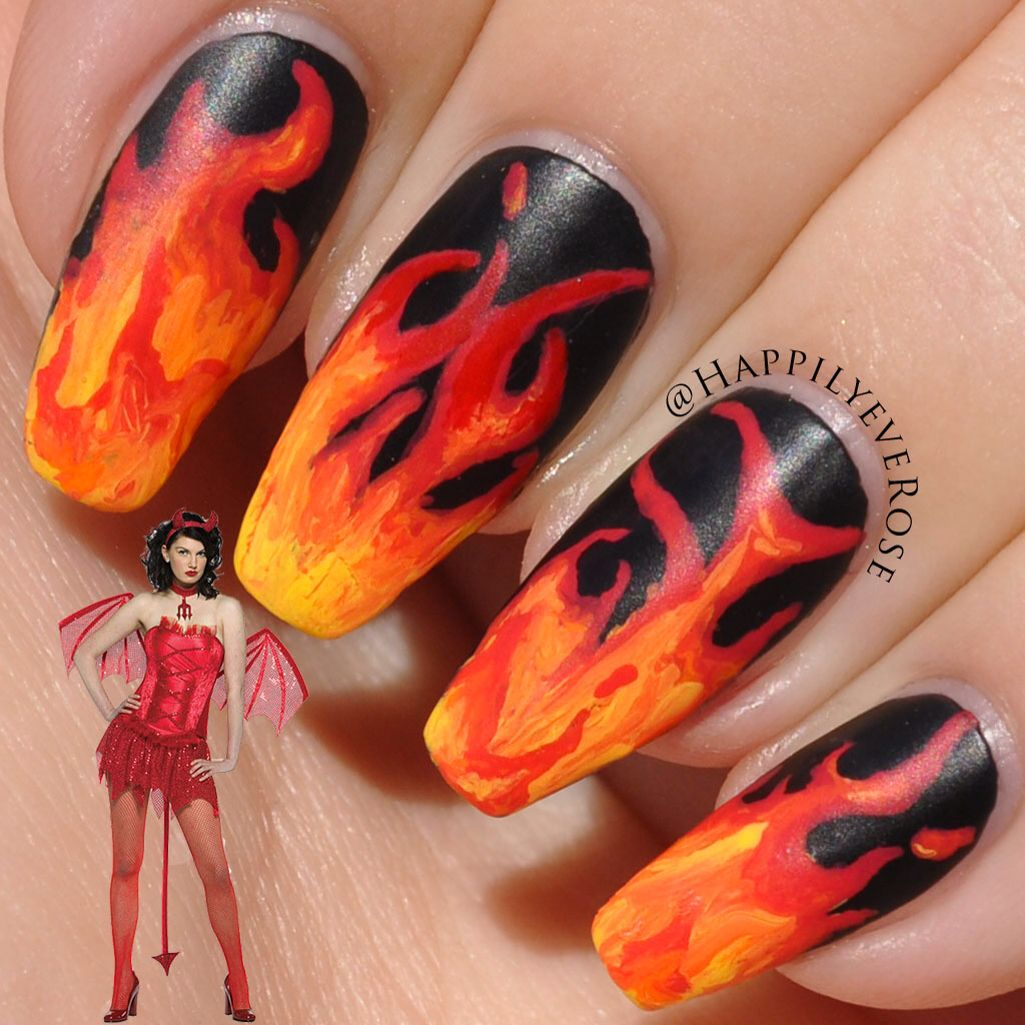 Halloween devil costume nail idea with tutorial | Nails | Pinterest
