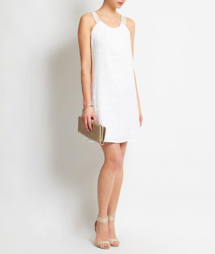 Robe courte lin blanc