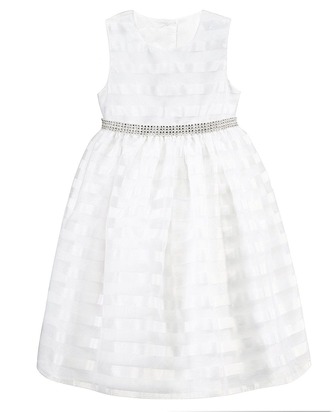 Marmellata Girls Striped Organza Flower Girl Dress Kids & Baby