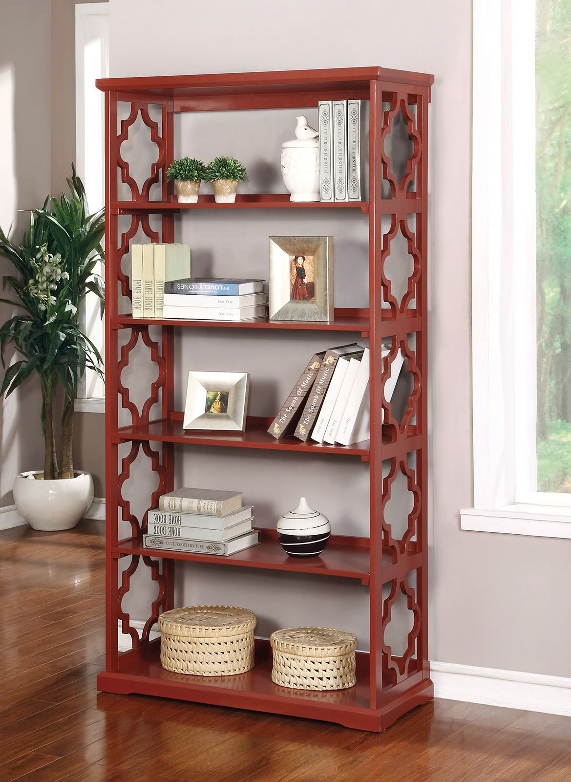 Furniture Of America CM AC6280RD Contemporary 6 Tier Bookshelf With Moroccan Inspired Accents In A Red Finish