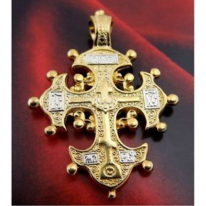Russian-Old-Believers-Orthodox-Lobed-Cross-22K-Gold-Silver-Pendant-18-Chain