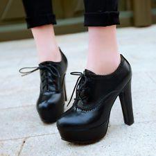 Vintage Retro Women Shoes Block High Heel Lace Up Platform Lady Pump Plus Size X