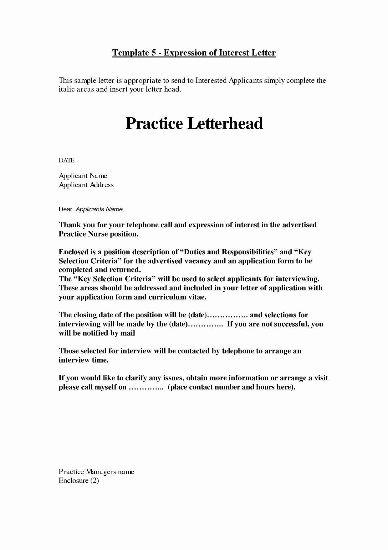 Expression Of Interest Letter Sample Pdf
