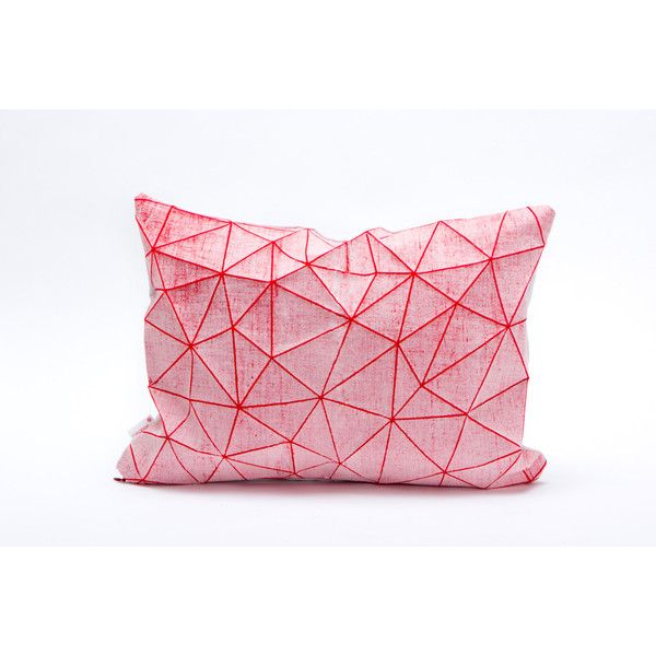 White And Red Geometric Pillow Cover 55x40 Cm 21 6x16