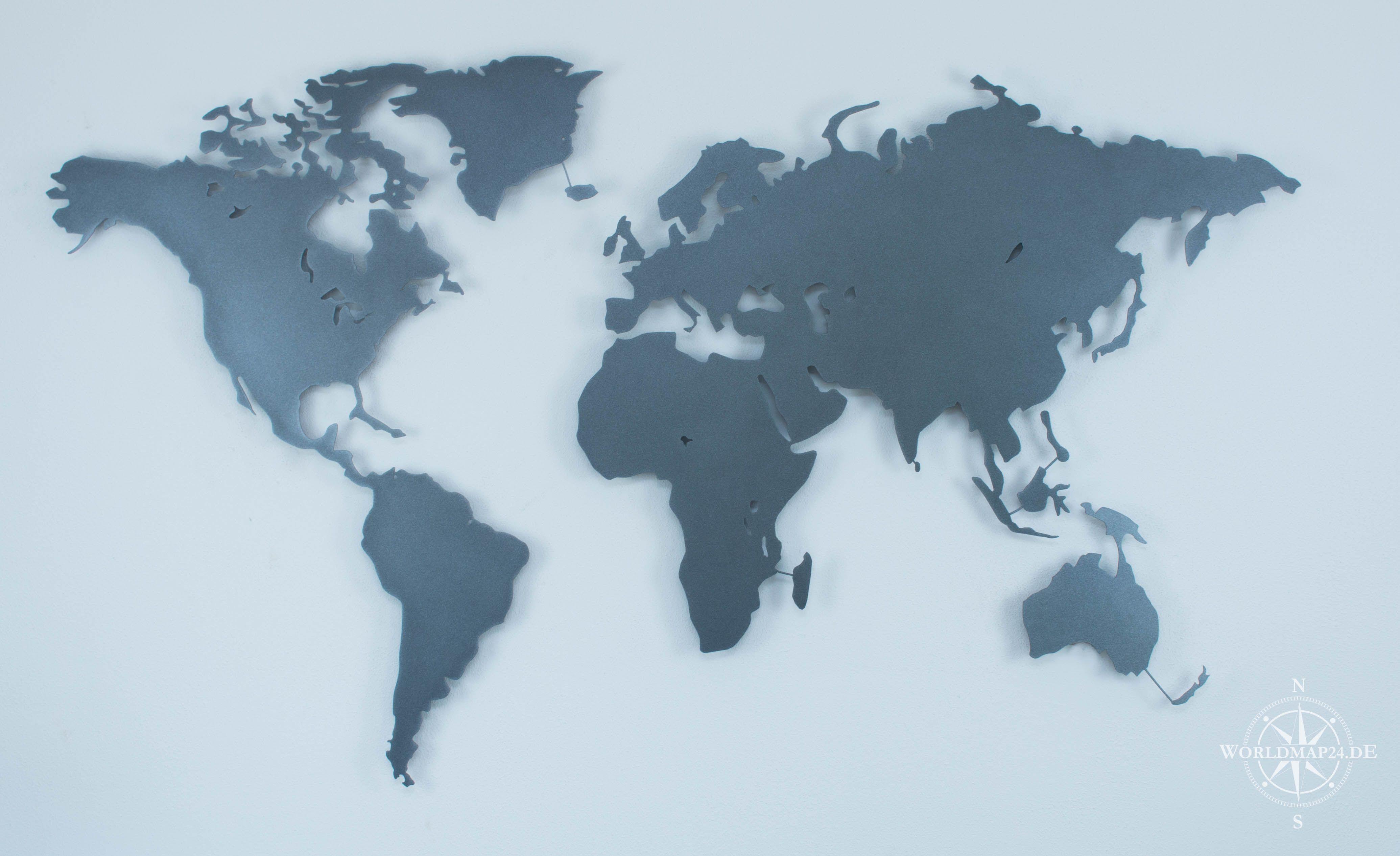 Design Weltkarte Mit Strukturiertem Eisenglimmer Look Front In