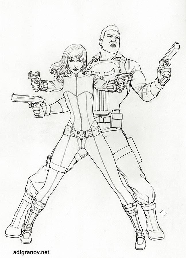 Line Art Marvel : Black widow punisher by adi granov avengers shield