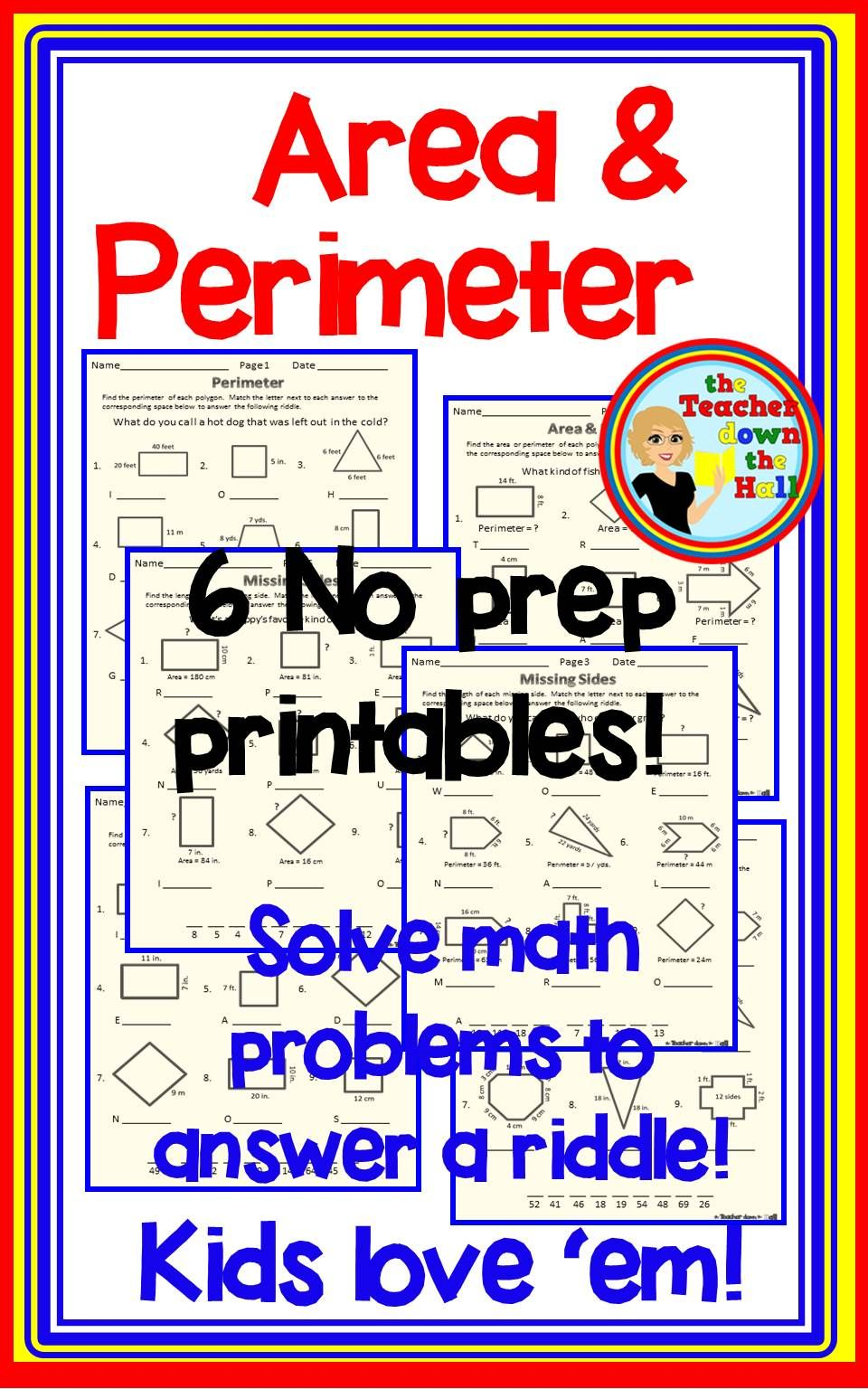 6 Worksheets To Review Area Perimeter And Missing Sides All Have A Riddle That Correct Answers Will Help Area And Perimeter Elementary Math Classroom Math [ 1536 x 960 Pixel ]