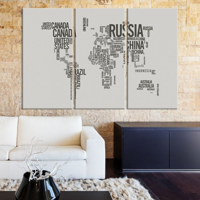 Large wall art world map canvas print world map occured by large wall art world map canvas print world map occured by country names on gray gumiabroncs Choice Image