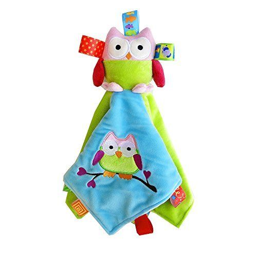Inchant Owl Taggies Security Blanket Velboa Baby Tag Blanket
