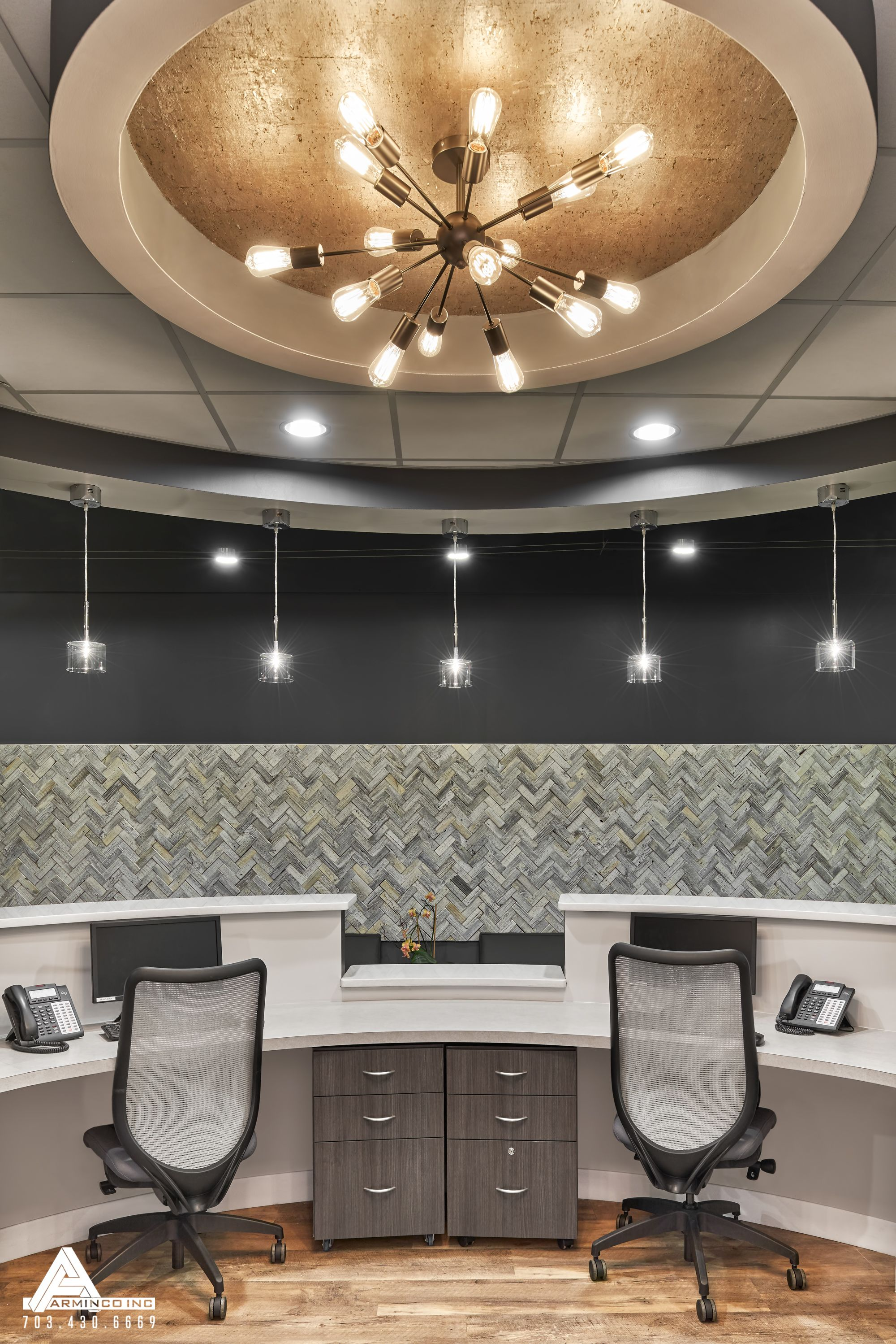 dental office reception. Gold Reception Lighting. Dental Office Design By Arminco Inc.