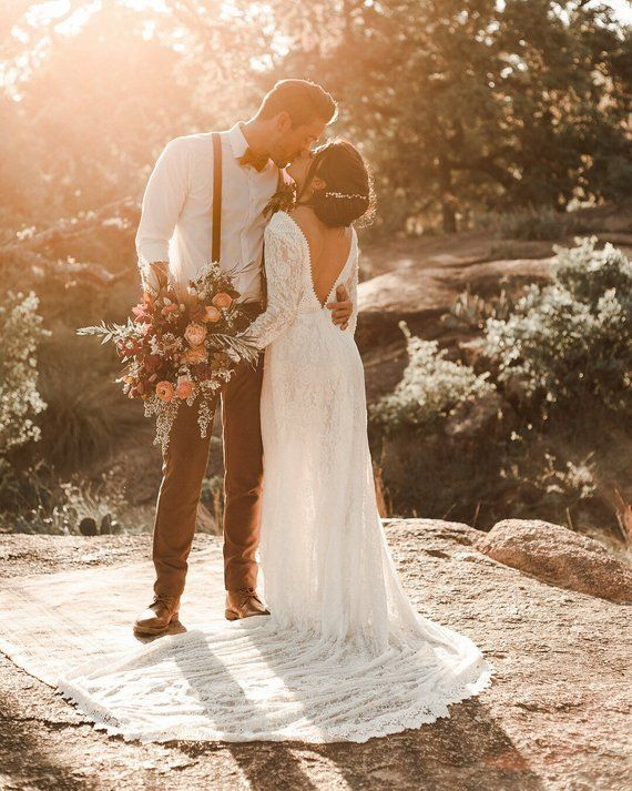 Photo of Venice / Bohemian Wedding Dress / Vintage Lace Wedding Dress / Open Back Backless and Long Sleeves Wedding Gown