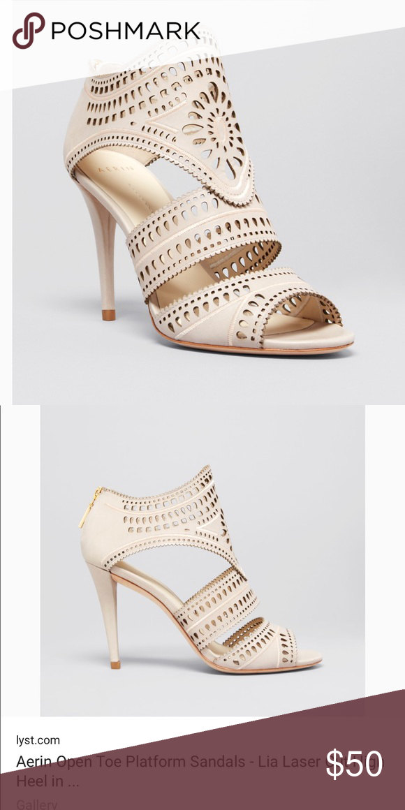 2c0d2088f9e4 Aerin Lia Laser Cut Sandal Heels ool laser cutouts add high-definition  detail to a must-have sandal silhouette. Open toe  functional back zip  ...