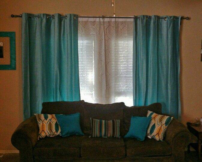My new living room curtains i love them light turquoise - Turquoise curtains for living room ...
