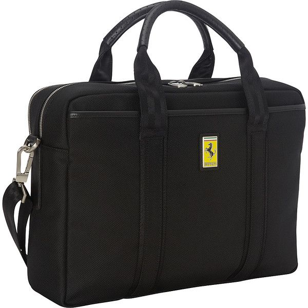 Ferrari Luxury Collection Utility Briefcase Laptop Ca ($415) ❤ liked on Polyvore featuring bags, briefcases, black, business and non-wheeled business cases