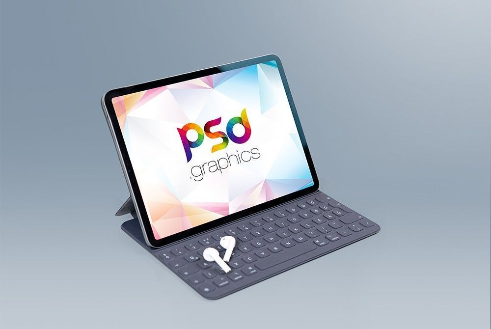 Download Free Ipad Pro With Keypad Mockup In 2020 Free Ipad Ipad Mini Wallpaper Mockup Templates