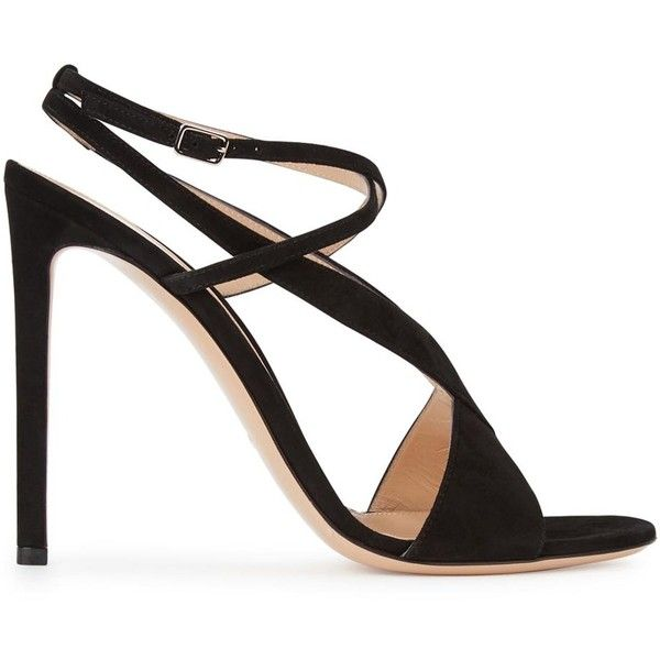 Gianvito Rossi Cora black suede sandals (2 685 PLN) via Polyvore featuring shoes, sandals, black open toe sandals, black ankle strap sandals, black strap sandals, strap sandals i suede sandals