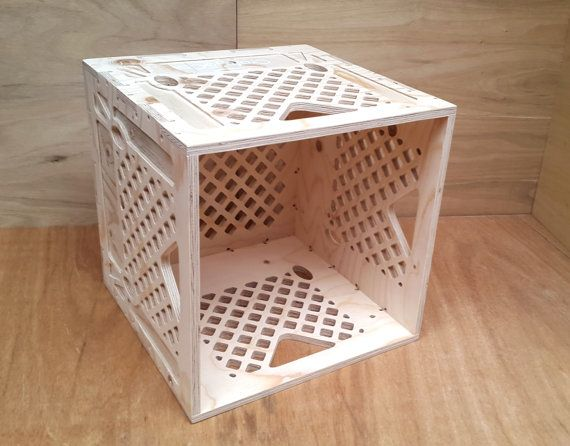 Stackable Milk Crate Style Vinyl Storage Unit   Hand made in the UK!  Detailed lattice styling makes this unit lighter without losing strength.
