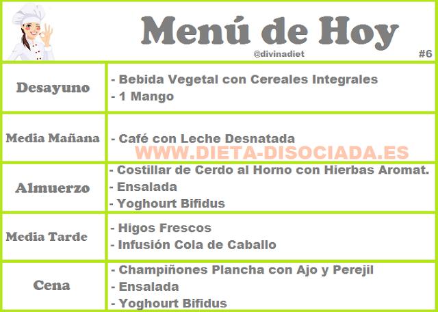 Champinones dieta disociada menu