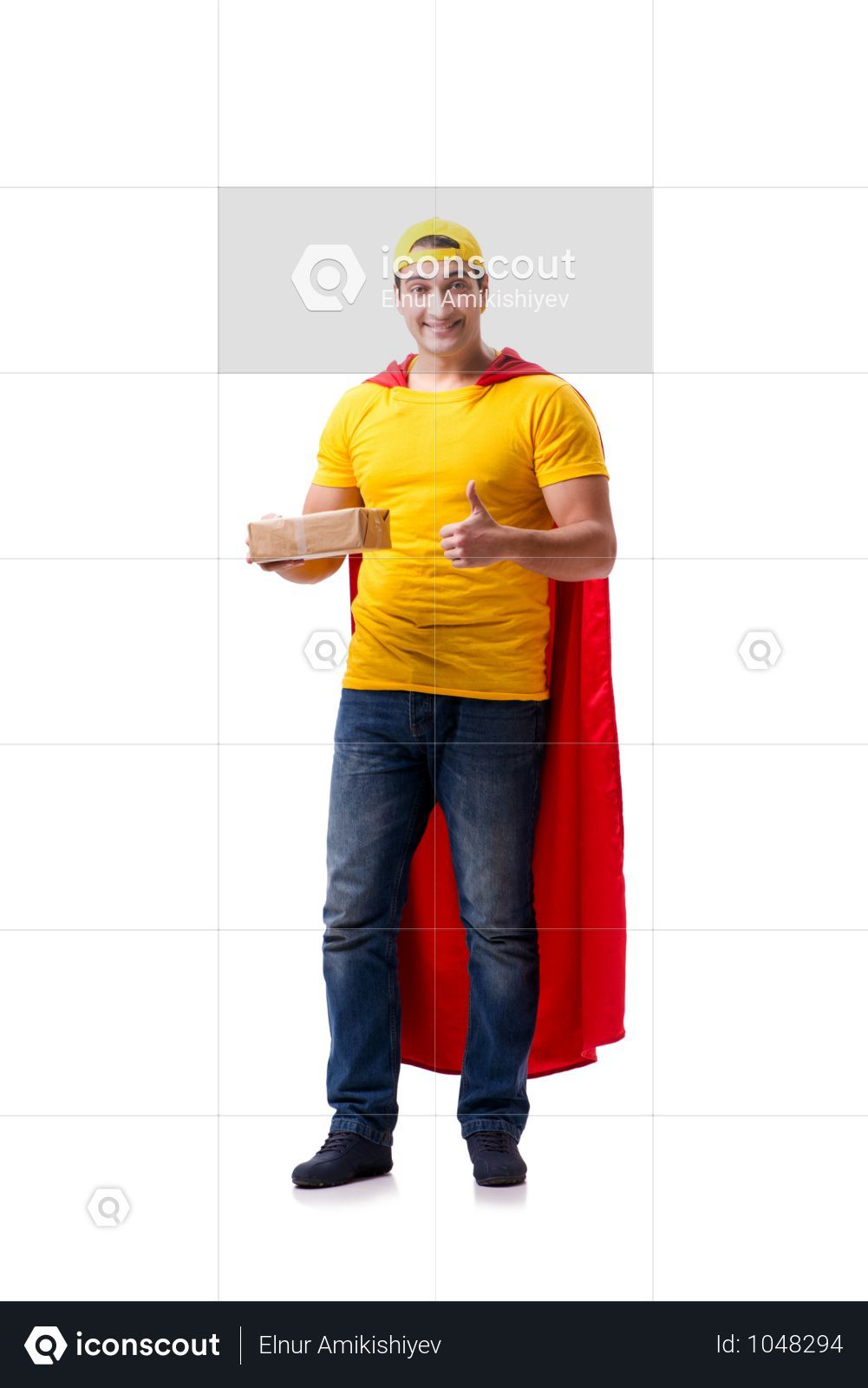 Super Hero Delivery Guy Isolated On White Photo Delivery Photos Superhero Guys