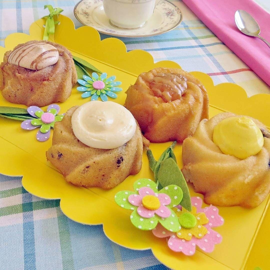 Spring-themed mini bundt cake - with lemon coffee vanilla caramel