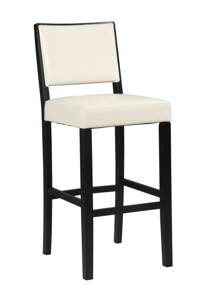 Zoe Solid Wood Black Contemporary Full Back Armless Bar Stool With