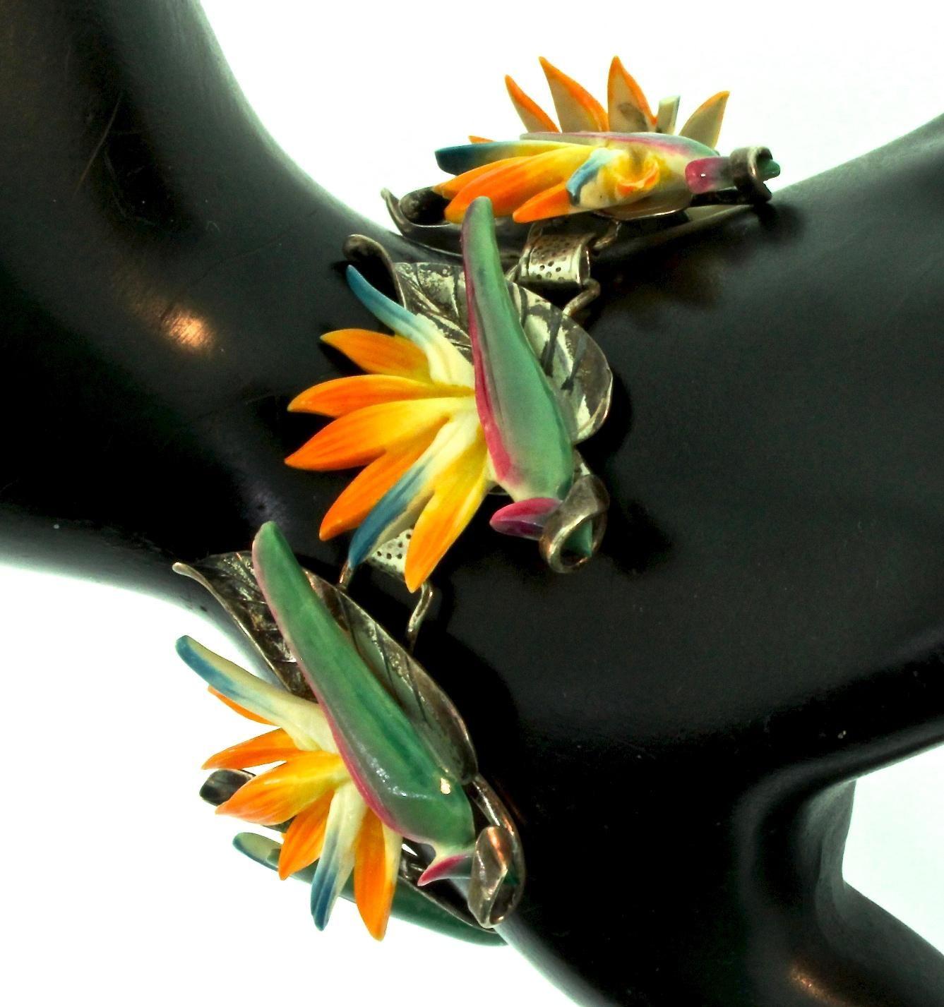 Rare Vintage 1940s Ming S Honolulu Bird Of Paradise Flower Figural Sterling Bracelet Birds Of Paradise Hawaii Jewelry Birds Of Paradise Flower