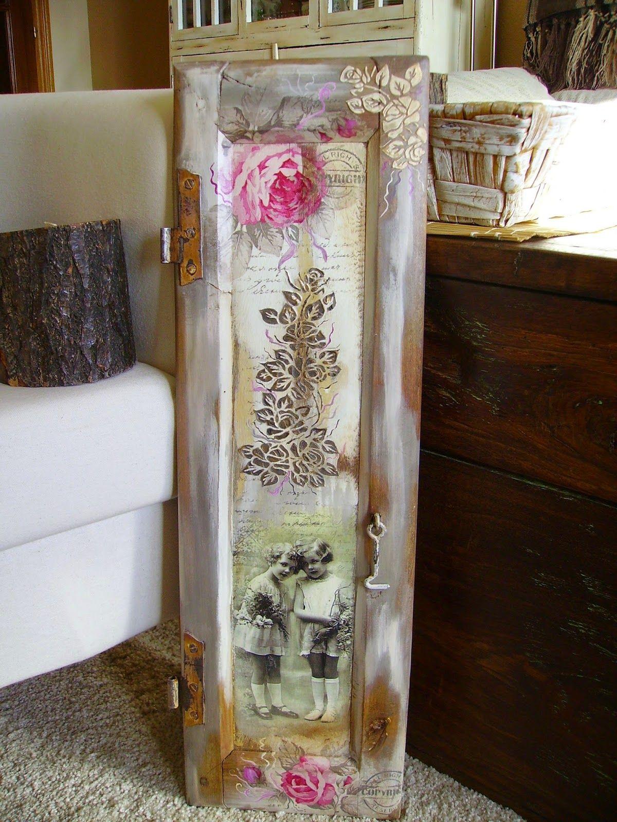 Retazos de madera contraventana con transfer craft for Manualidades con puertas viejas