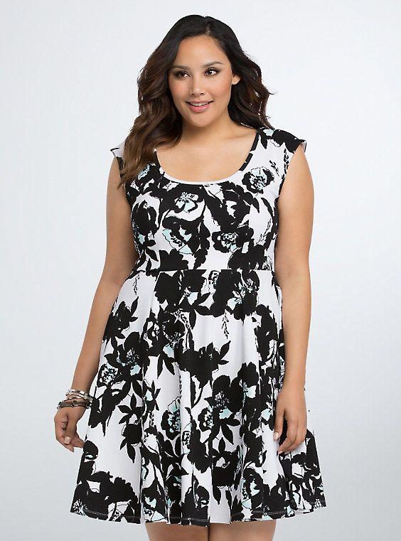 Floral Textured Skater Dress Floral Skater Dress Textured Knit Dress Dresses