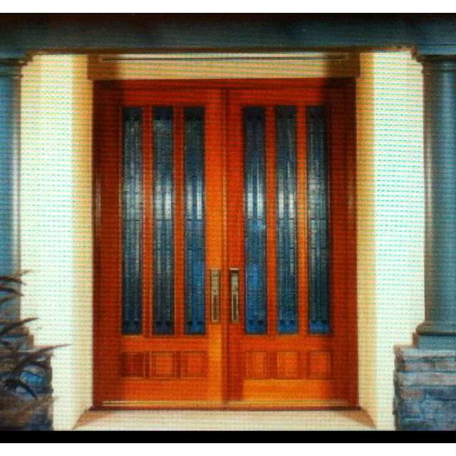 Custom Made Cypress Double Entry Doors Installed By