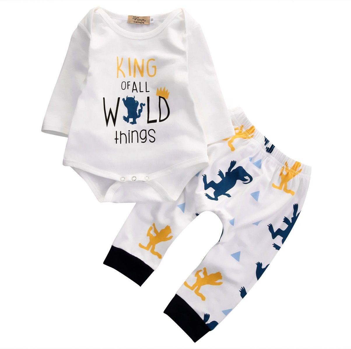 6481dddc5bc Click to Buy    2pcs Newborn Baby Boys Girls Clothes Long Sleeve Top ...